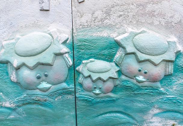 トイレの壁のカッパ.JPG